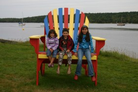 the kids on Shelburne's BIG chair